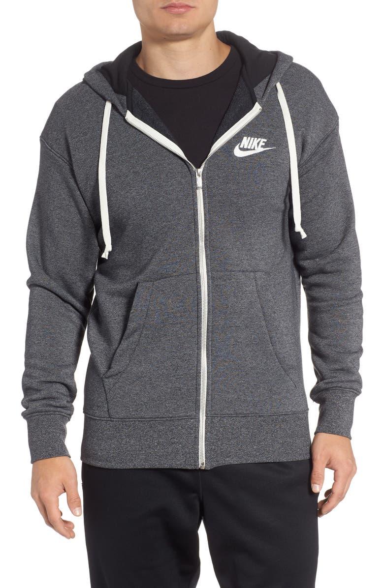 NIKE Sportswear Heritage Zip Hoodie, Main, color, BLACK/ HEATHER/ SAIL