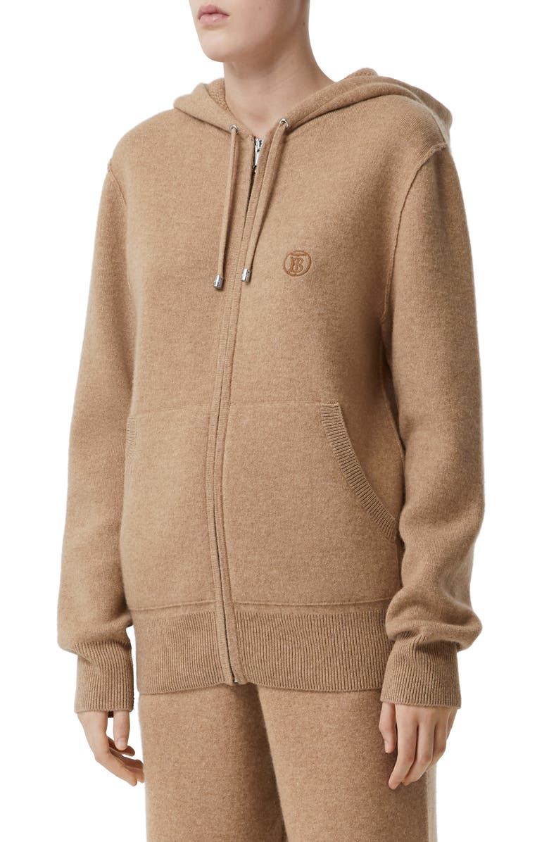 BURBERRY Argun TB Monogram Stretch Cashmere Hoodie, Main, color, PALE COFFEE