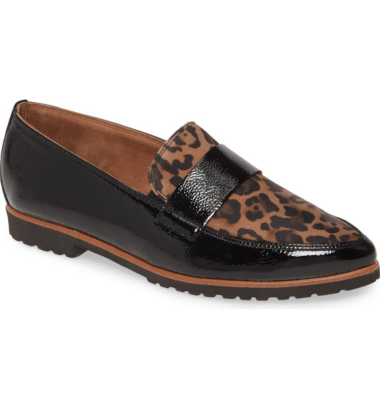 PAUL GREEN Callie Pointy Toe Loafer, Main, color, LEOPARD BLACK COMBO