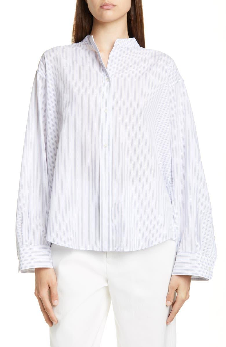 VINCE Pleated Stripe Shirt, Main, color, OPTIC WHITE