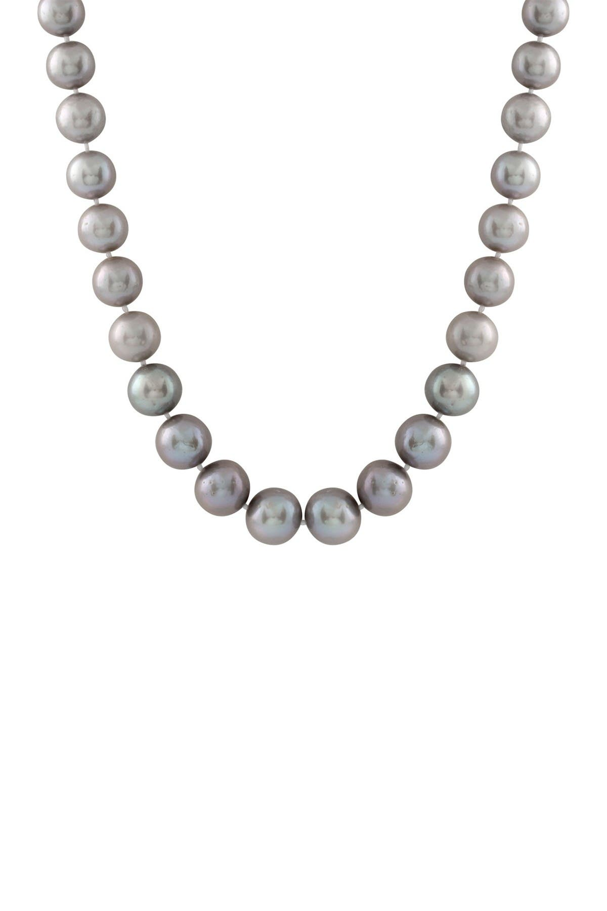Image of Splendid Pearls 14K Yellow Gold 9-10mm Grey Freshwater Pearl Necklace