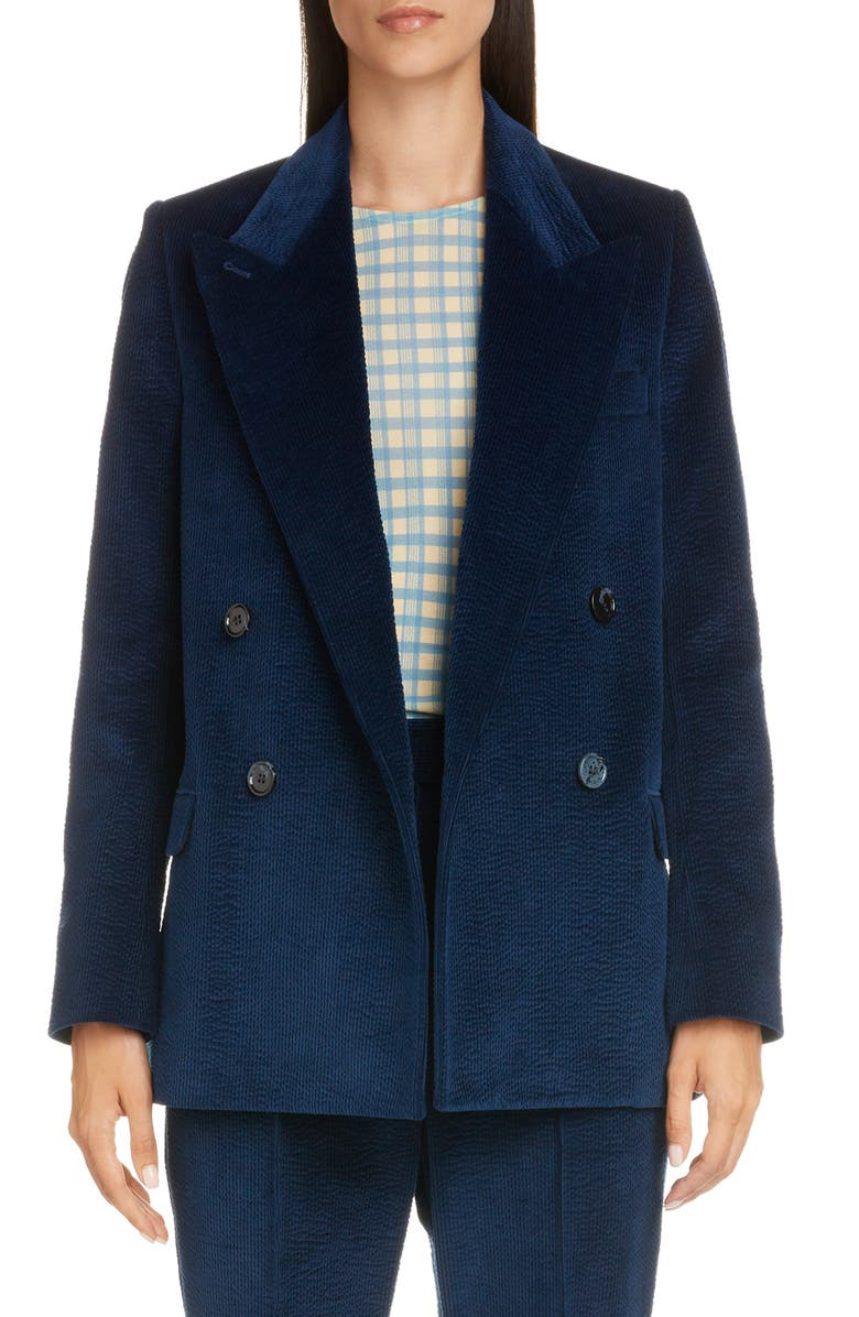 ACNE STUDIOS Janny Double Breasted Corduroy Blazer, Main, color, INK BLUE
