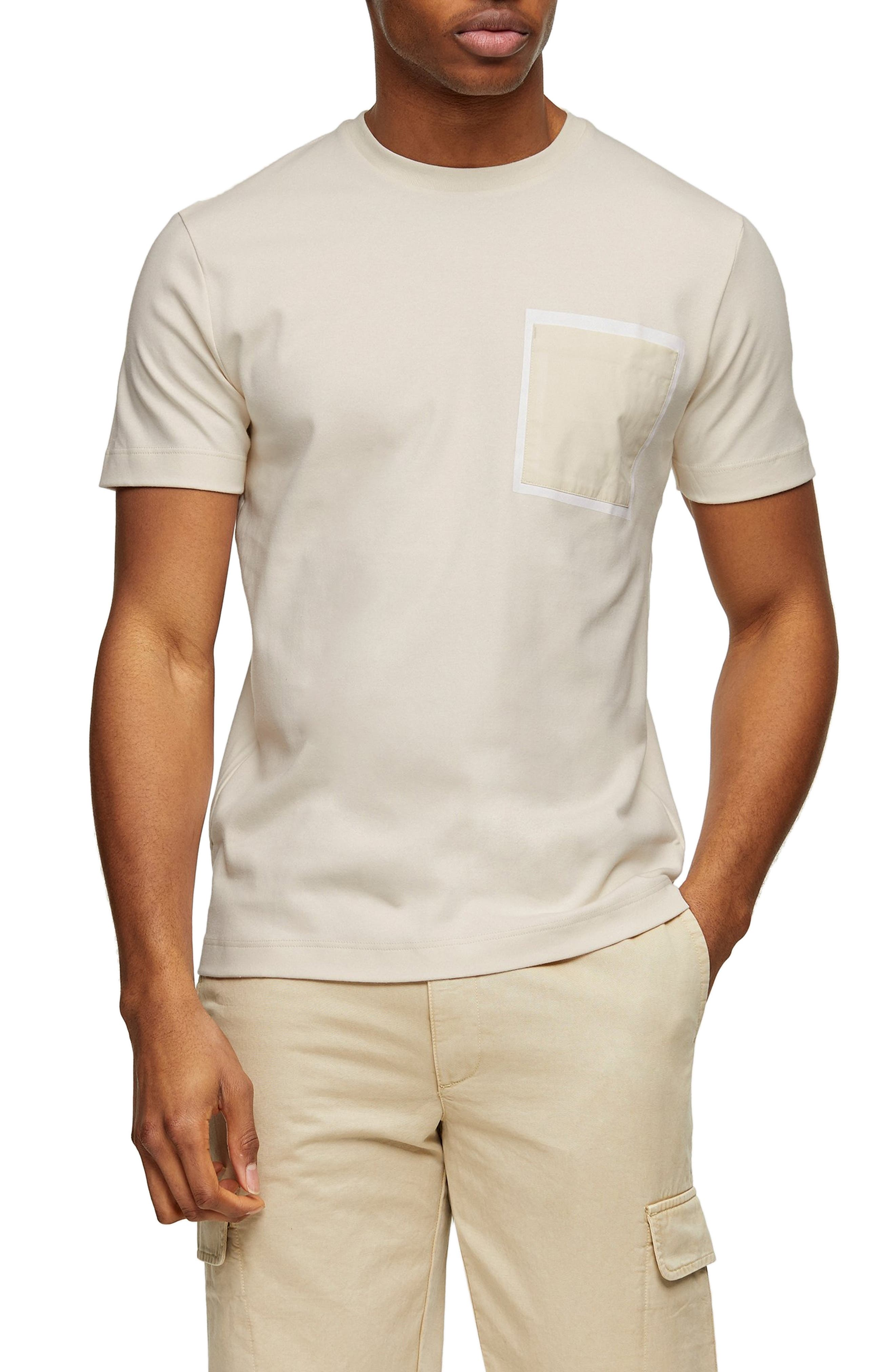 A glossy frame spotlights the chest pocket of a T-shirt made in a comfortable fit from soft, breathable cotton. Style Name: Topman Bonded Pocket T-Shirt. Style Number: 6032523. Available in stores.