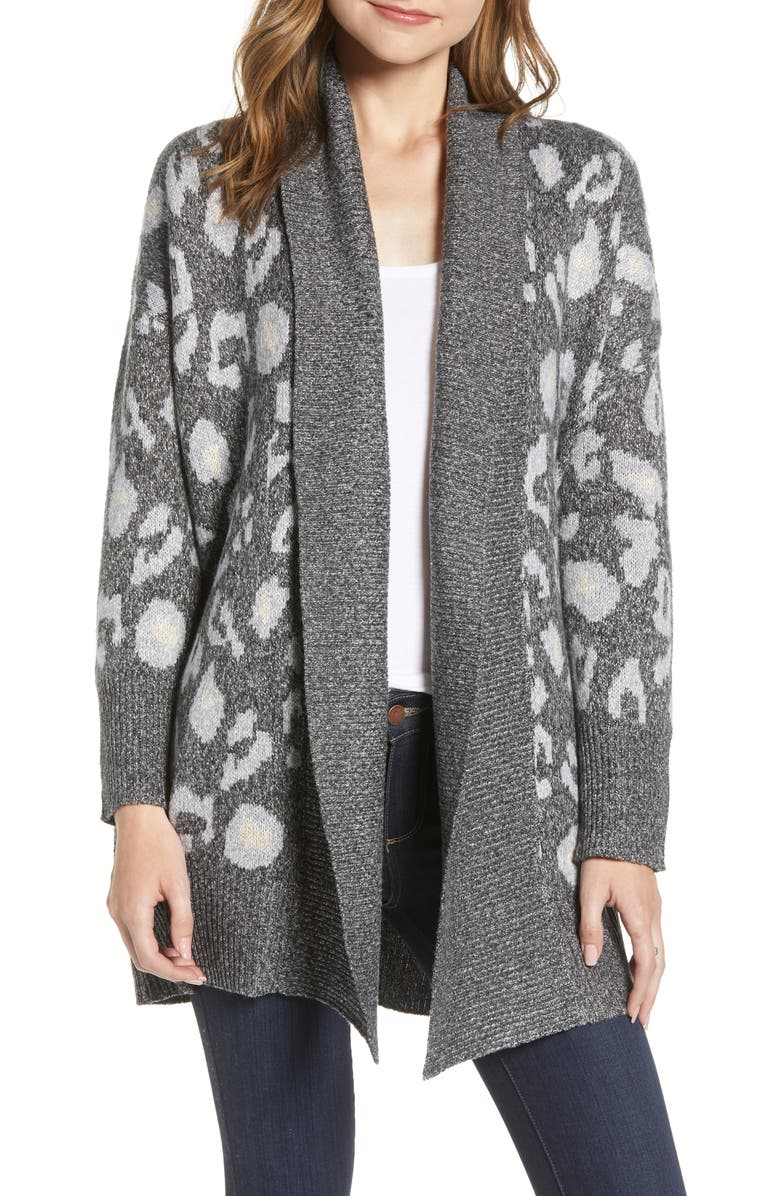 CUPCAKES AND CASHMERE Leopard Pattern Long Cardigan, Main, color, MED HEATHER GREY