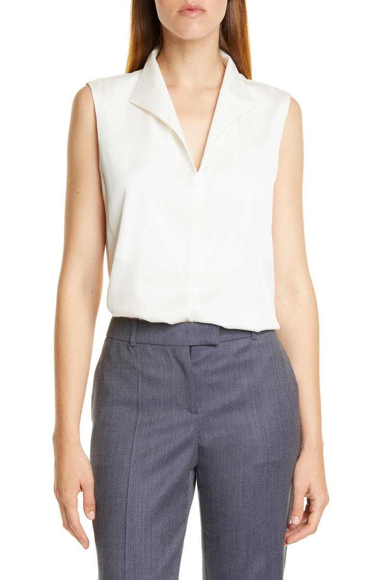 BOSS Iolisa Stretch Silk Blouse, Main, color, VANILLA LIGHT