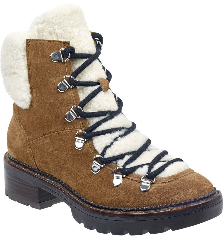 MARC FISHER LTD Capell Genuine Shearling Cuff Lace-Up Boot, Main, color, 211