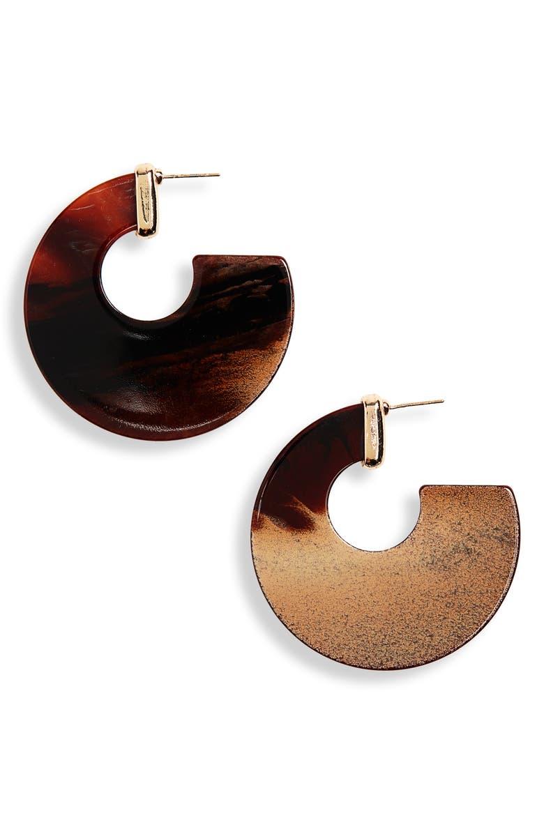 PANACEA Hoop Earrings, Main, color, BROWN