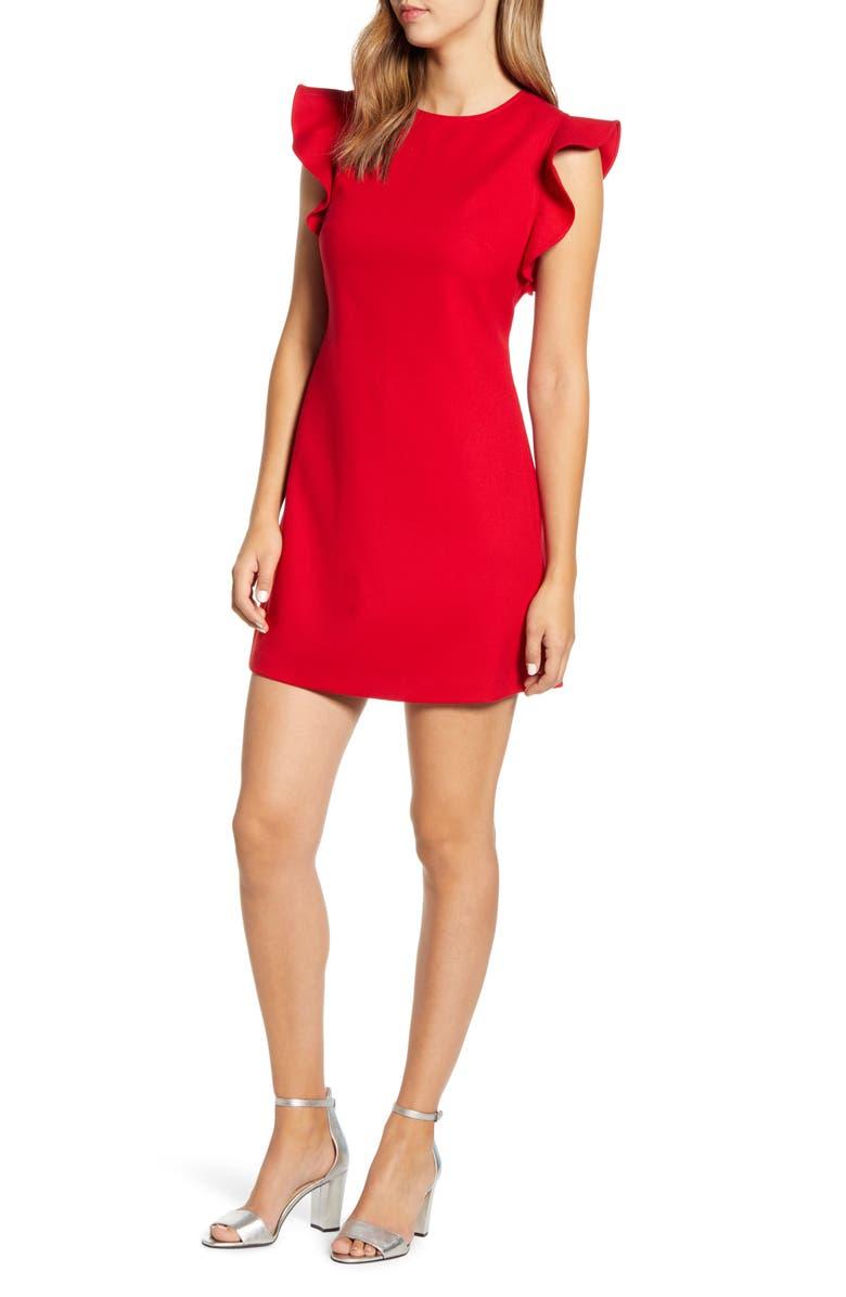 VINEYARD VINES Flutter Sleeve A-Line Dress, Main, color, RED VELVET