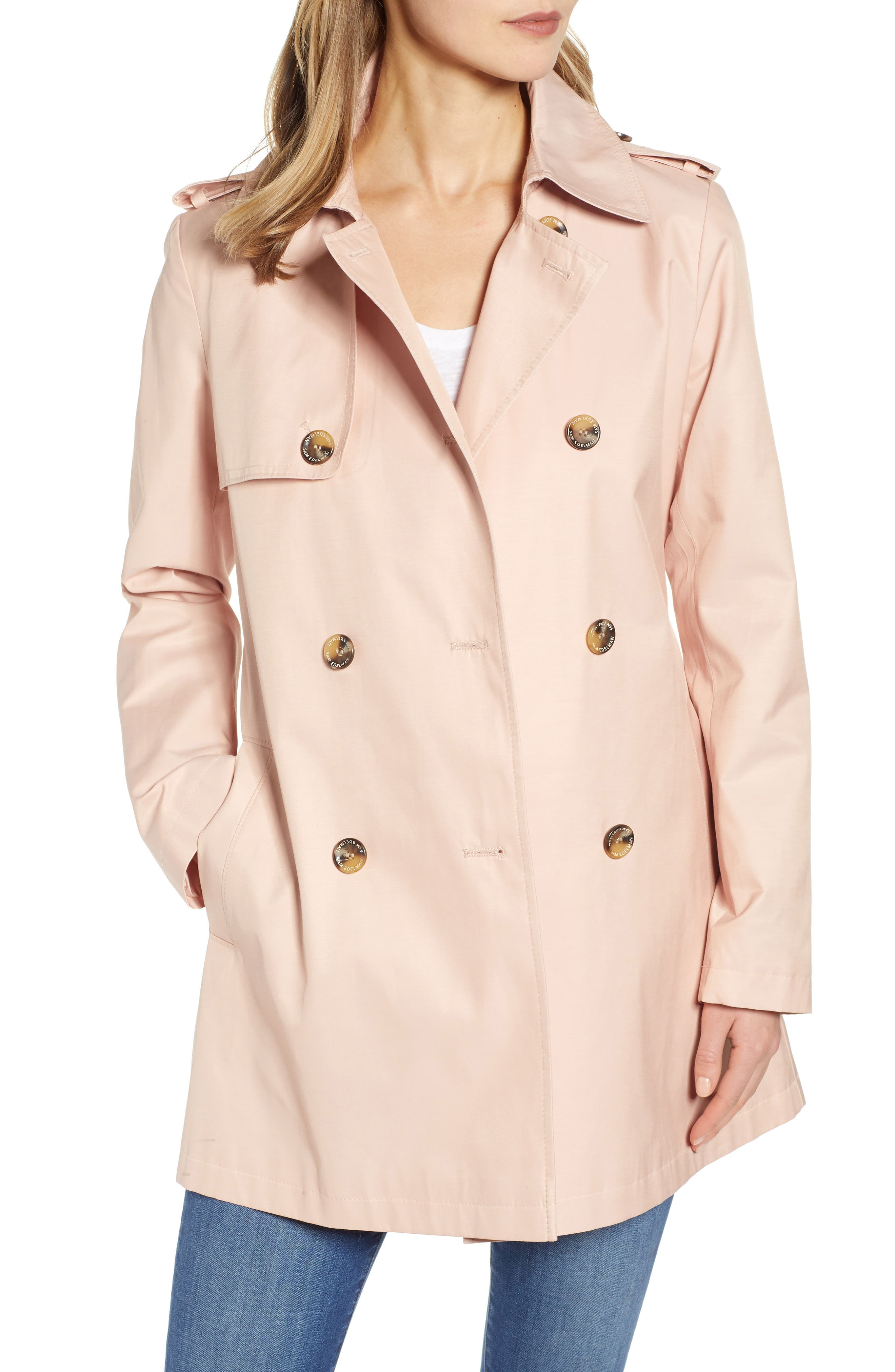 Sam Edelman Water Resistant Trench Coat, Pink
