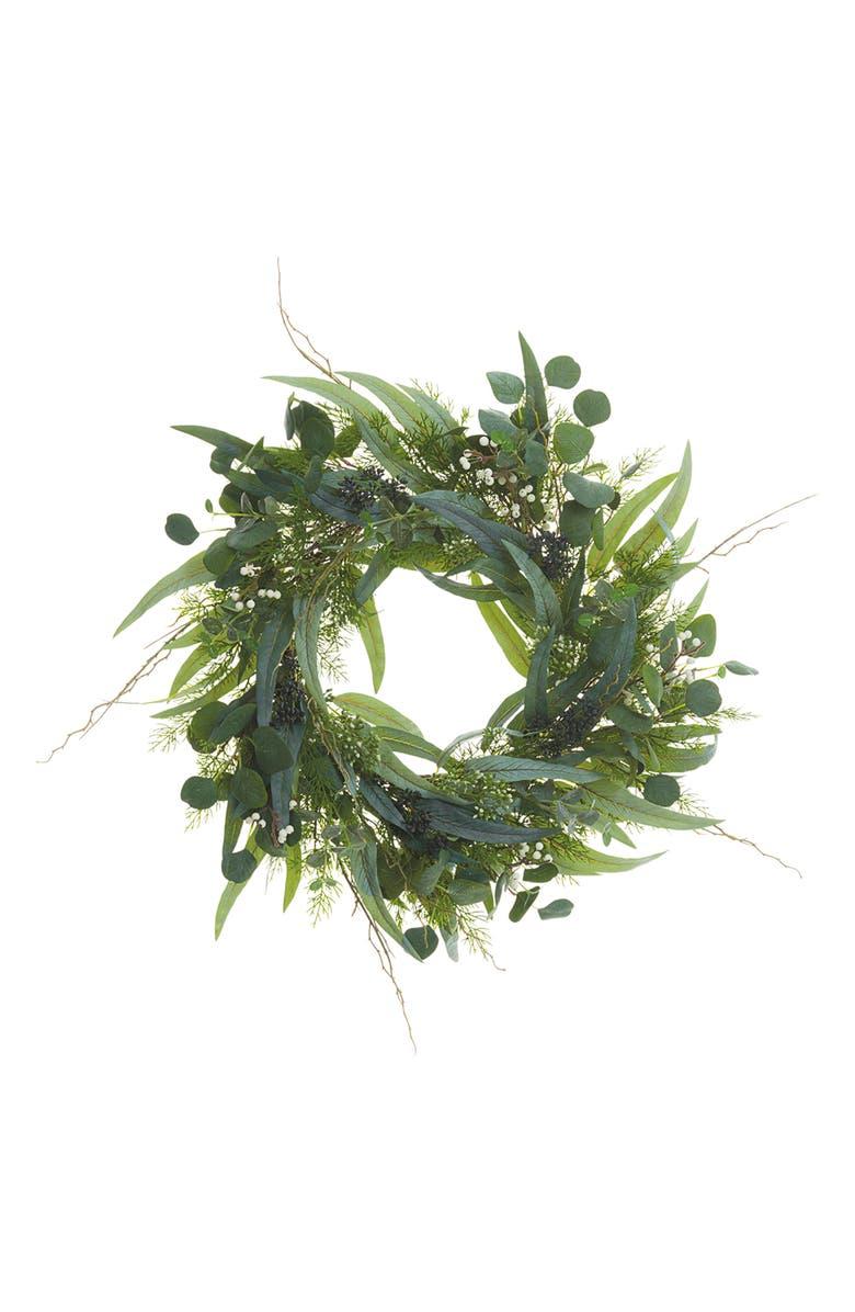 ALLSTATE Eucalyptus, Berry & Pine Wreath, Main, color, GREEN GRAY