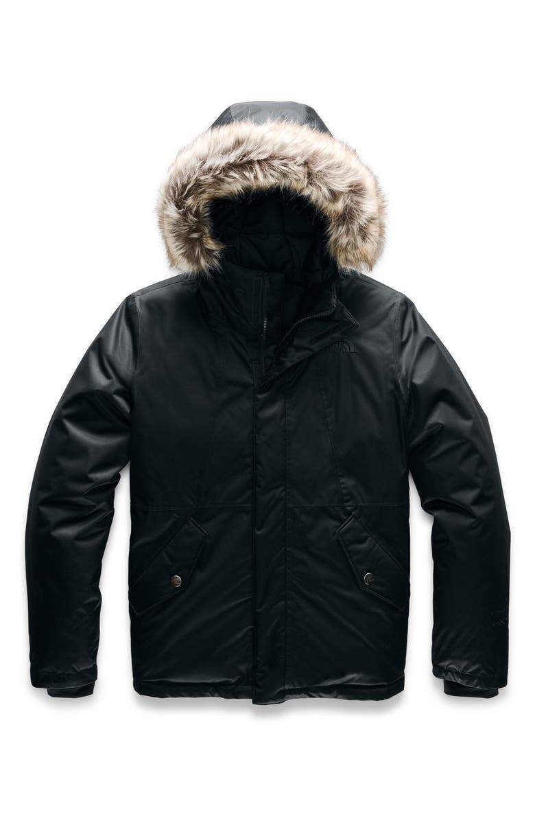 THE NORTH FACE Greenland Waterproof 550 Fill Power Down Jacket with Faux Fur Trim, Main, color, 001