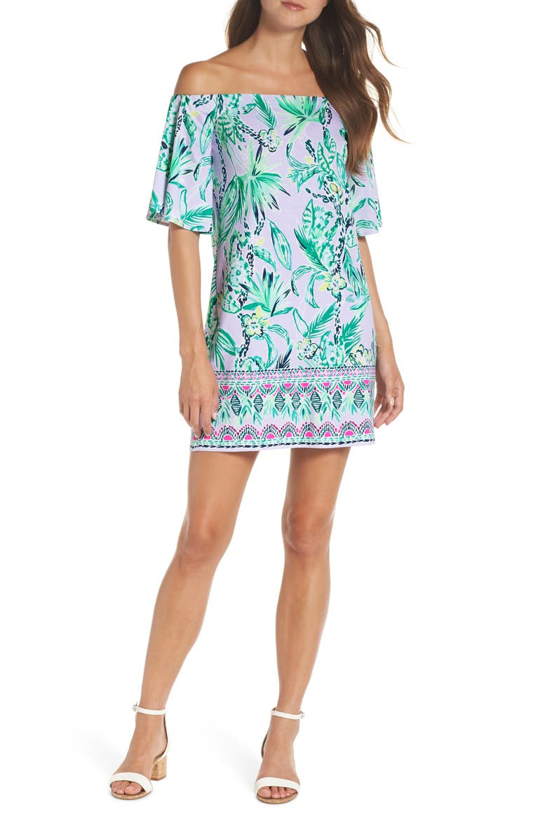 LILLY PULITZER<SUP>®</SUP> Fawcett Off the Shoulder Shift Dress, Main, color, 552