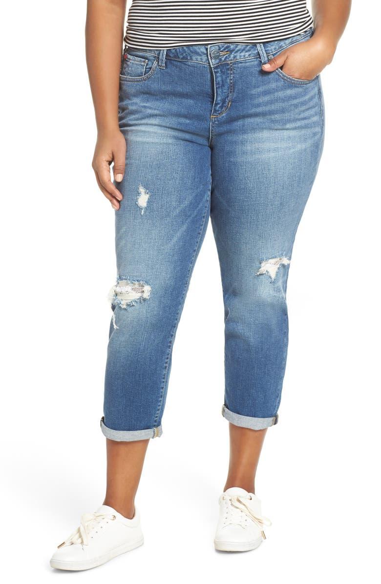 SLINK JEANS Distressed Boyfriend Jeans, Main, color, 429