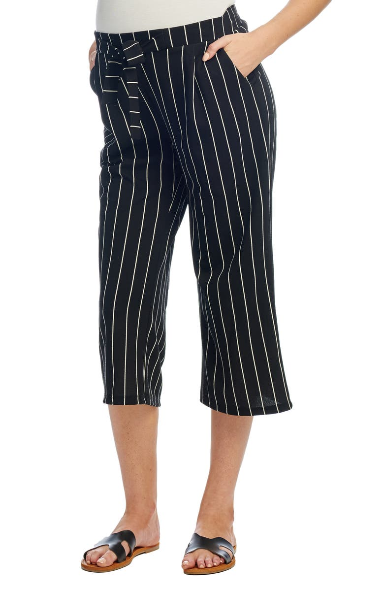 EVERLY GREY Makana Maternity Crop Pants, Main, color, BLACK STRIPE