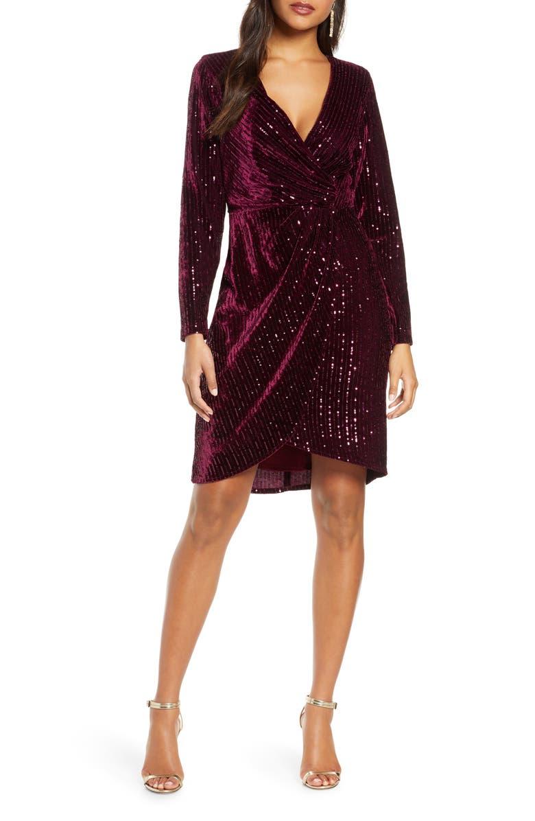 JULIA JORDAN Velvet Sequin Long Sleeve Faux Wrap Dress, Main, color, WINE