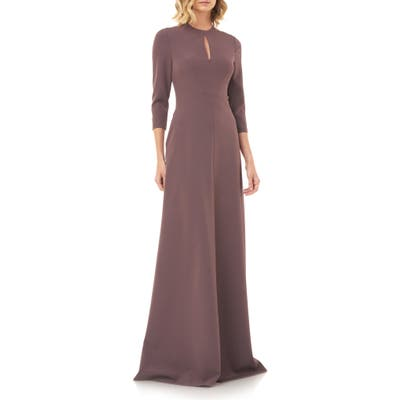 Kay Unger Hannah Stretch Crepe A-Line Gown, Purple