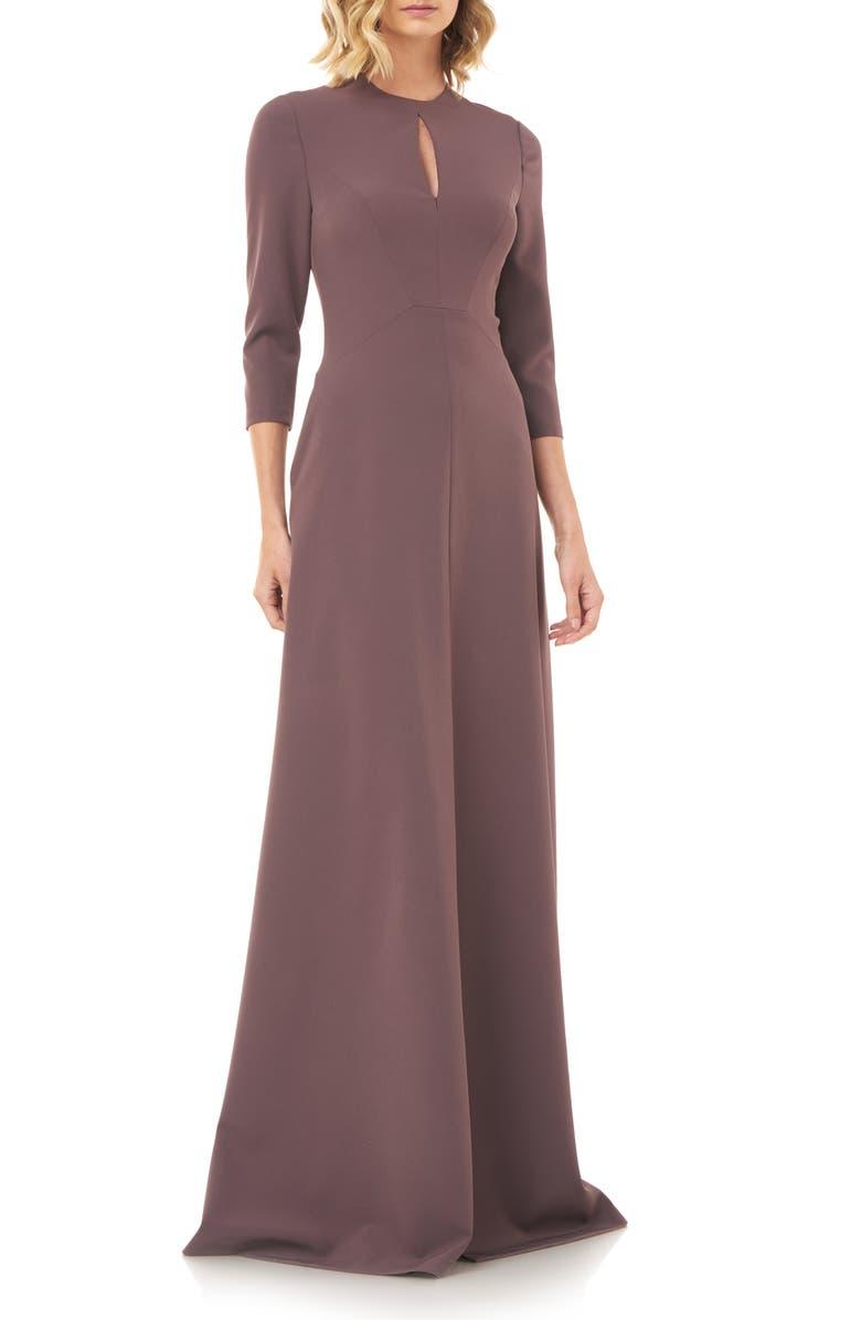 KAY UNGER Hannah Stretch Crepe A-Line Gown, Main, color, MINK