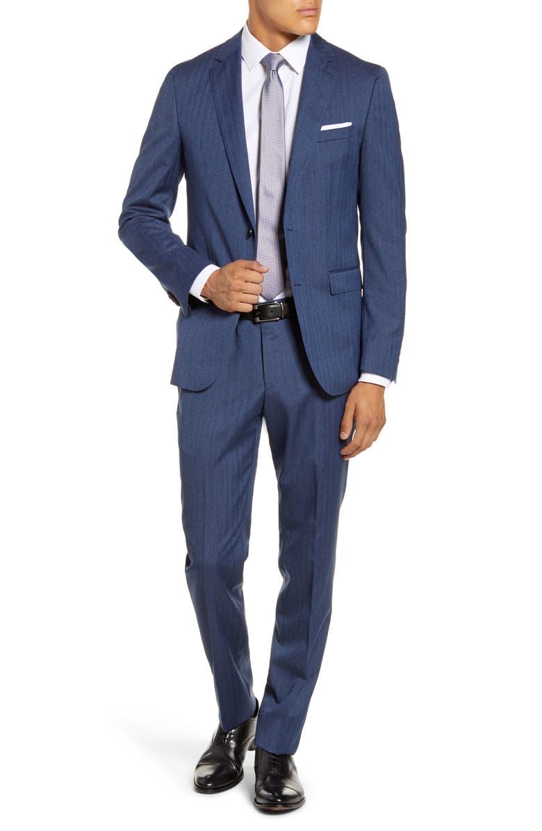 BOSS Novan/Ben Trim Fit Herringbone Wool Suit, Main, color, NAVY