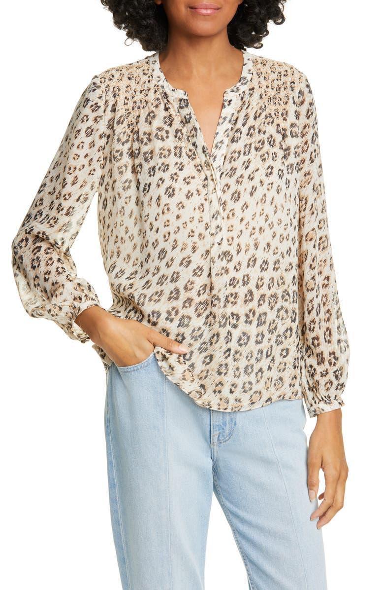 JOIE Cordell Leopard Print Silk Popover Top, Main, color, CAPPUCCINO