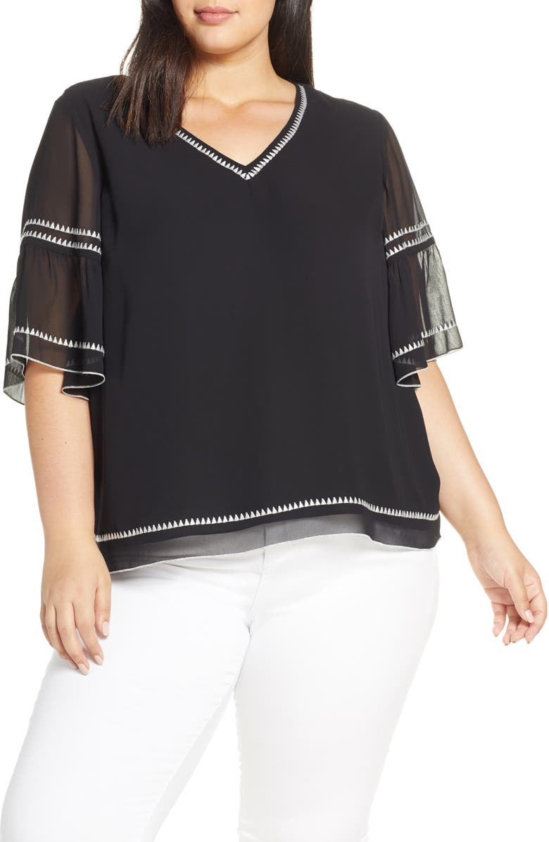 VINCE CAMUTO Bell Sleeve Embroidered Chiffon Top, Main, color, 006