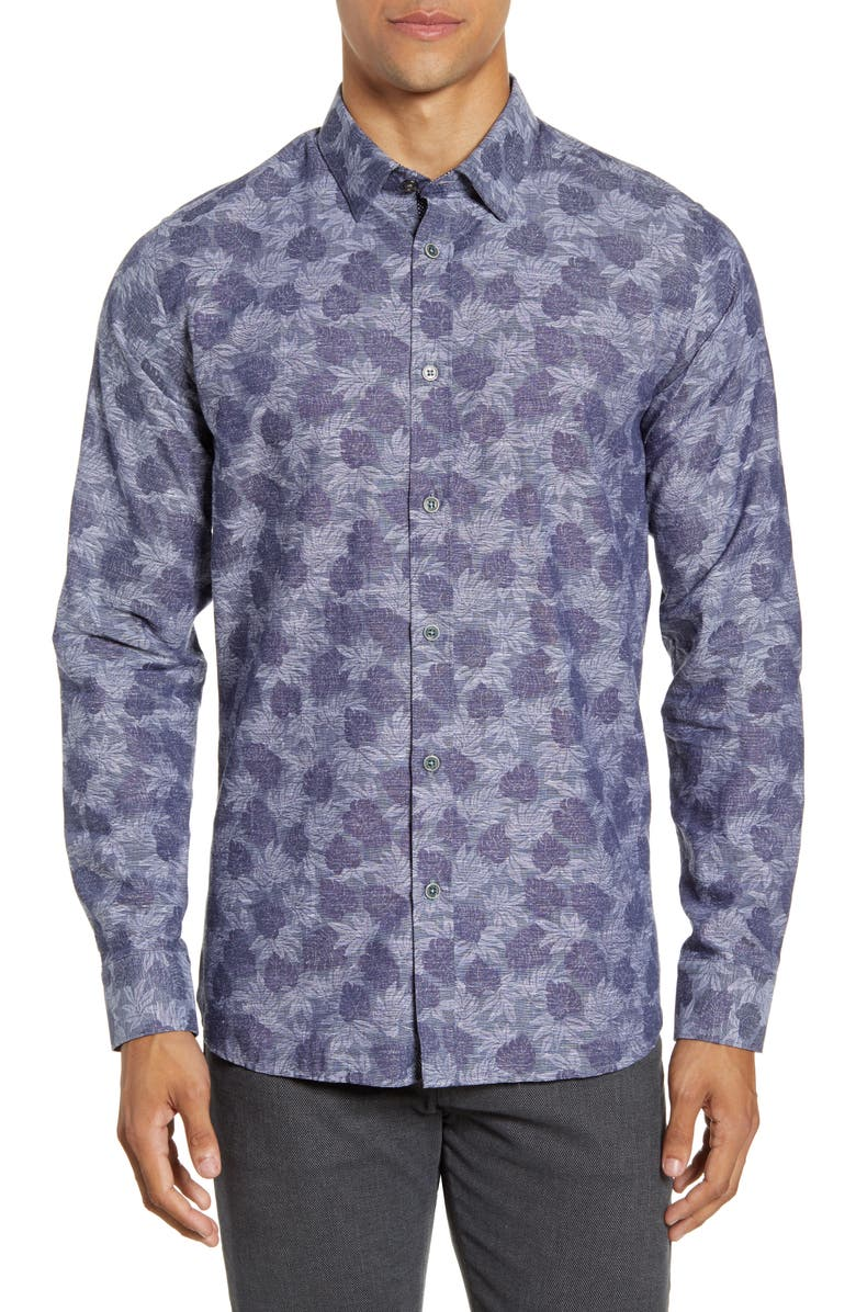 TED BAKER LONDON Slim Fit Palm Jacquard Button-Up Shirt, Main, color, NAVY