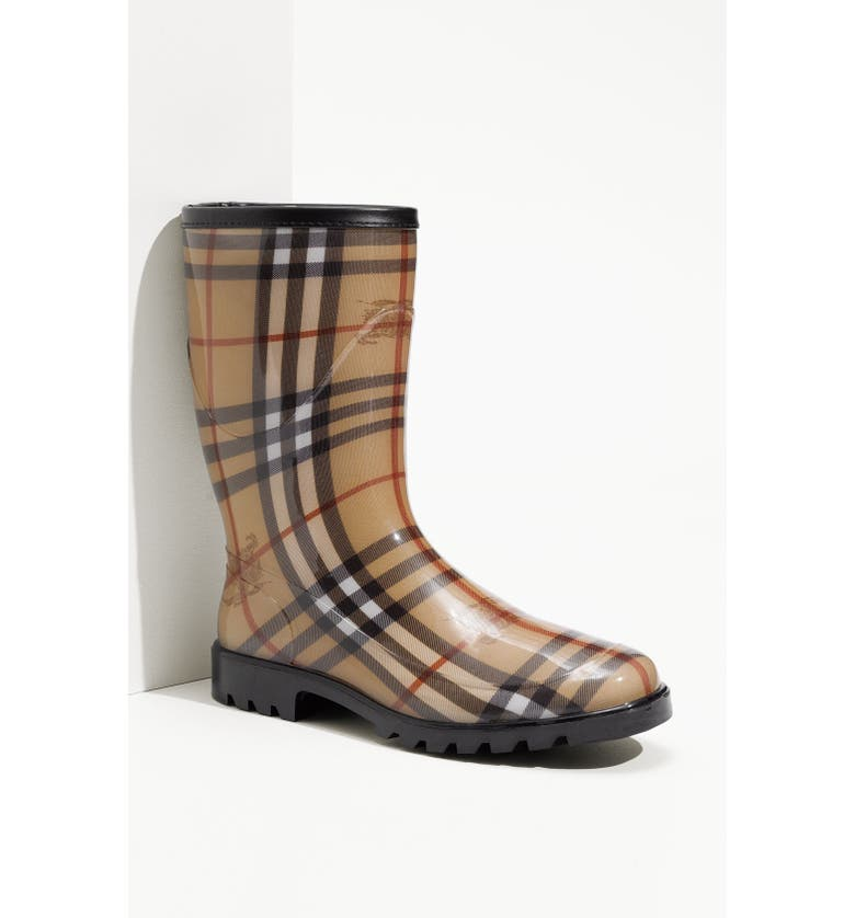BURBERRY Check Print Rain Boot, Main, color, 001