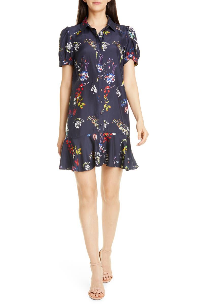 TANYA TAYLOR Floral Puff Sleeve Silk Shirtdress, Main, color, PENCIL FLORAL/ NAVY