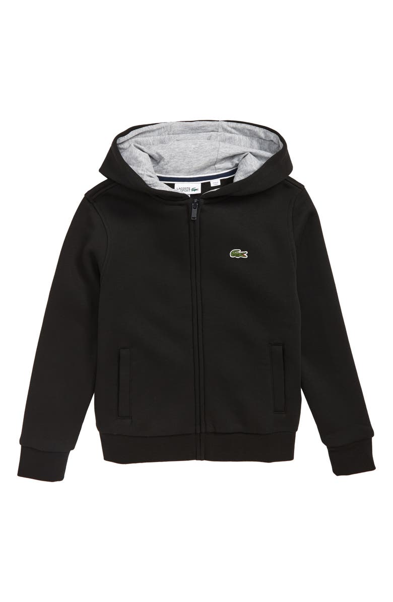 LACOSTE Sporty Fleece Full Zip Hoodie, Main, color, BLACK / SILVER