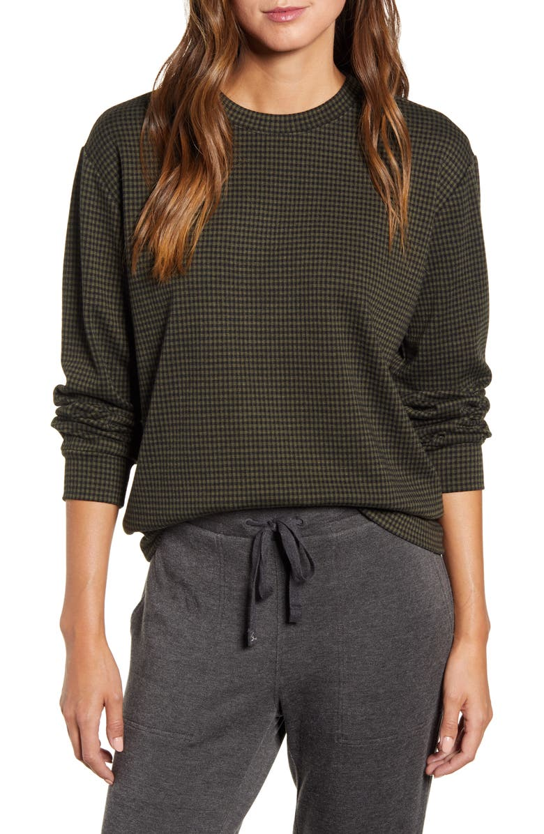 LOU & GREY Checked Ponte Sweatshirt, Main, color, OLIVE NOIR