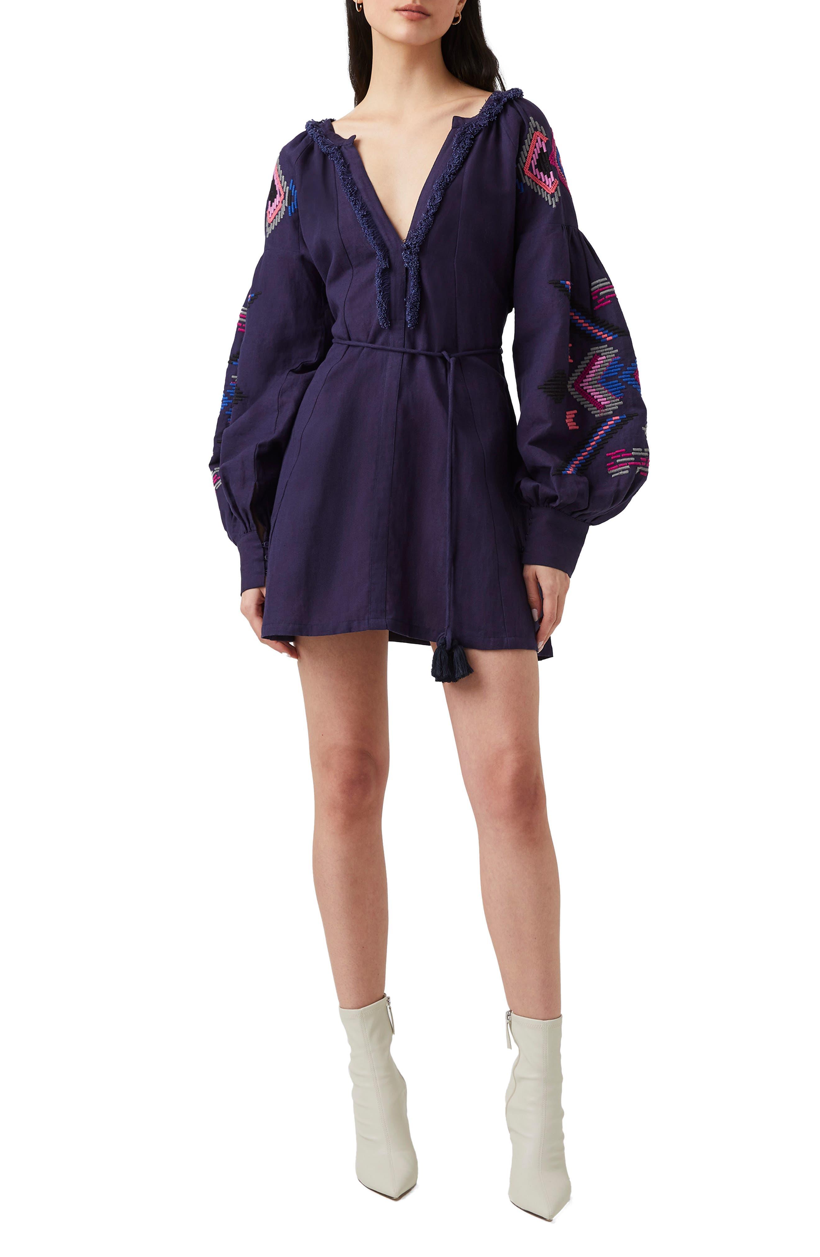 Alotta Embroidered Long Sleeve Cotton & Linen Minidress