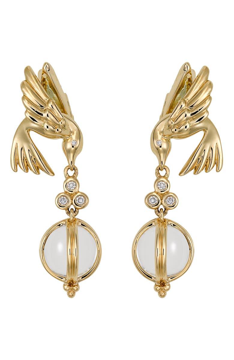 TEMPLE ST. CLAIR Crystal & Diamond Bird Drop Earrings, Main, color, YELLOW GOLD