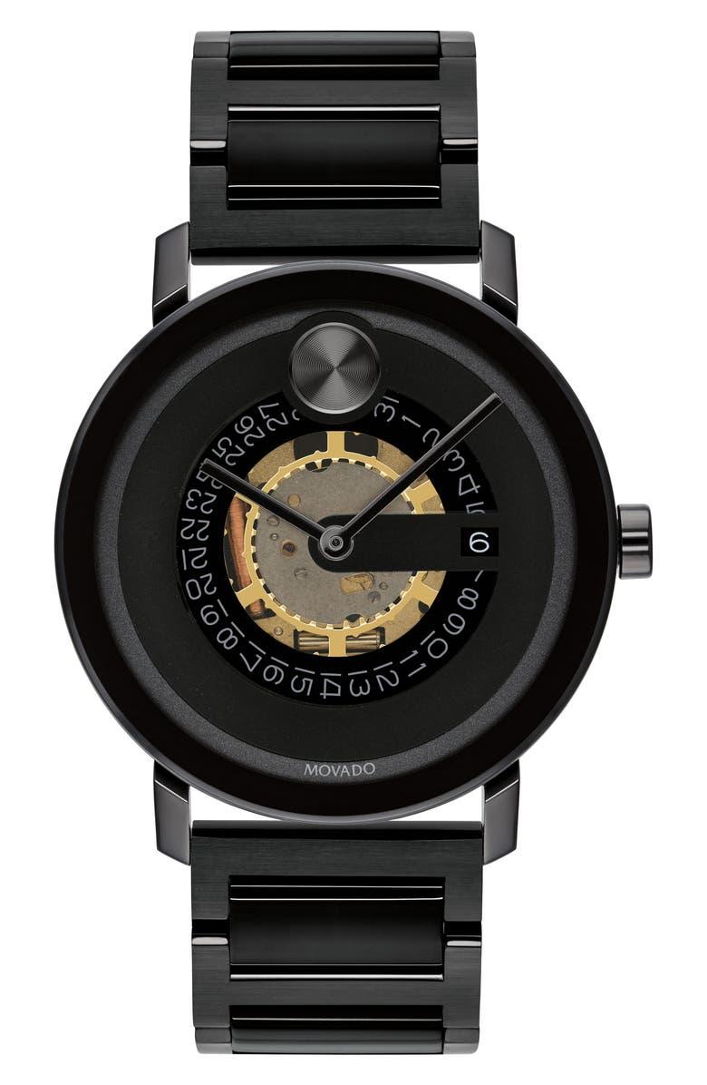 MOVADO Bold Evolution Bracelet Watch, 40mm, Main, color, BLACK