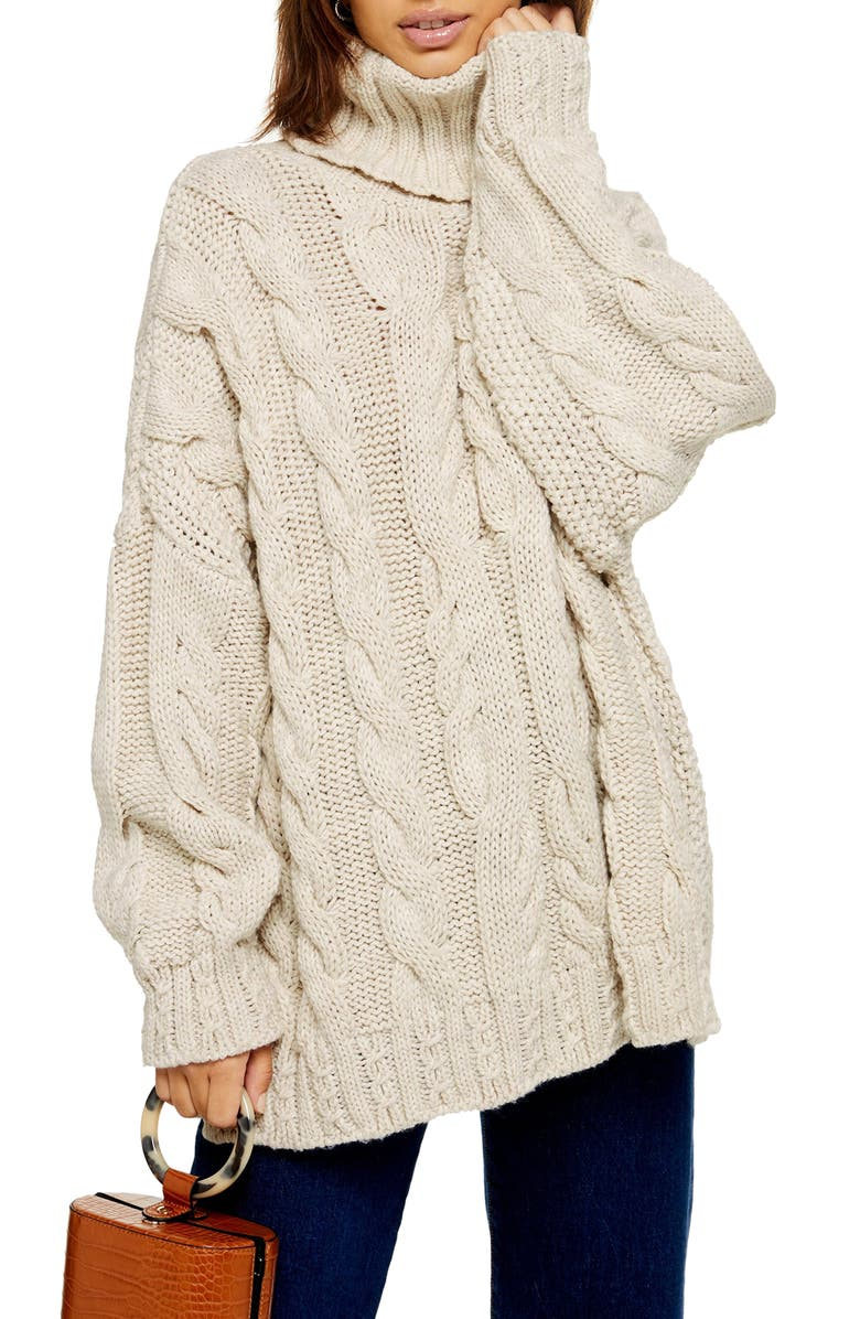 TOPSHOP Chunky Cable Turtleneck Sweater, Main, color, OATMEAL