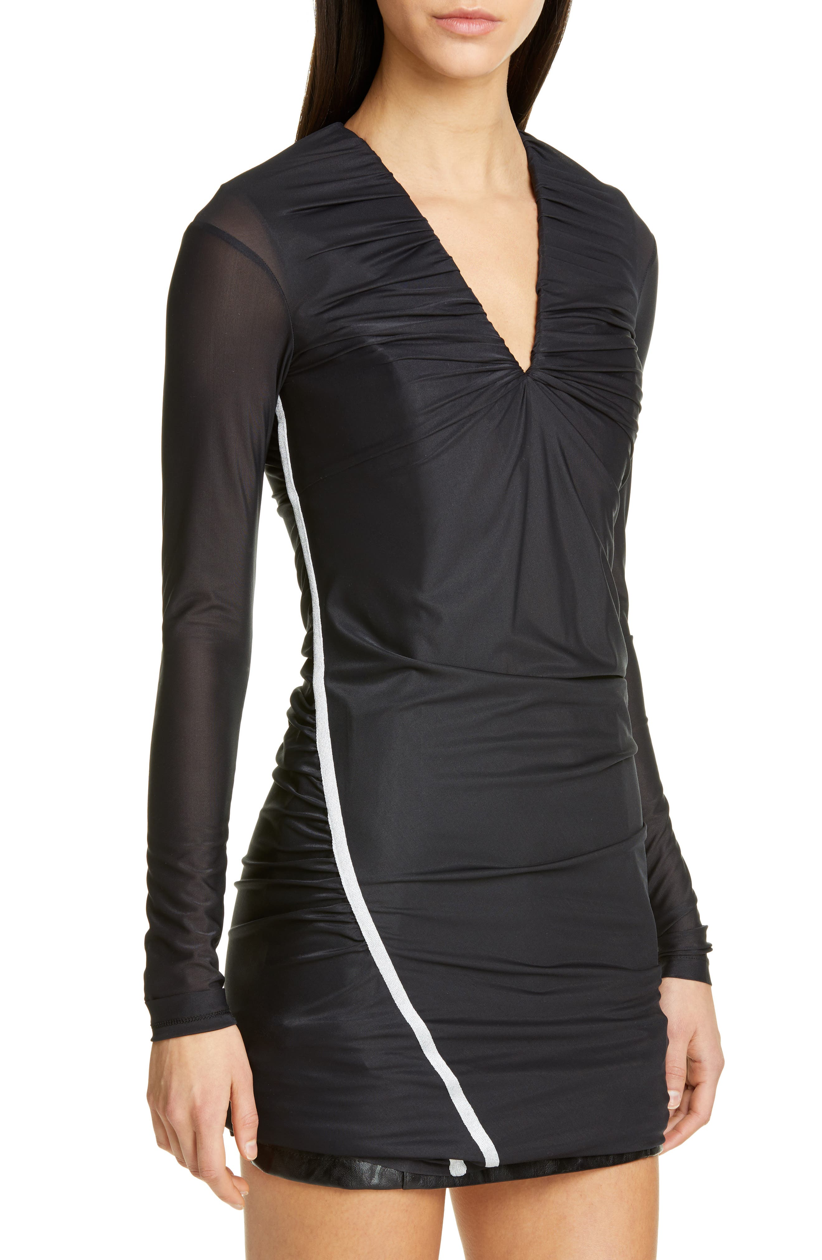,                             Fitted Convertible Long Sleeve Dress,                             Alternate thumbnail 5, color,                             BLACK