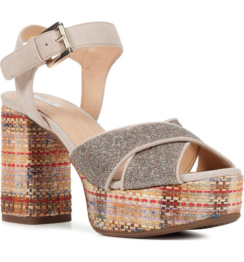 GEOX Galene Platform Sandal, Main, color, TAUPE SUEDE