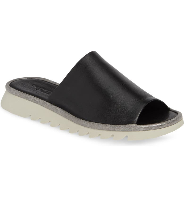 THE FLEXX Shore Thing Slide Sandal, Main, color, BLACK VACCHETTA LEATHER