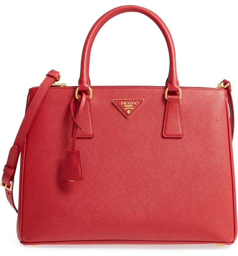 PRADA Medium Galleria Saffiano Tote, Main, color, FUOCO