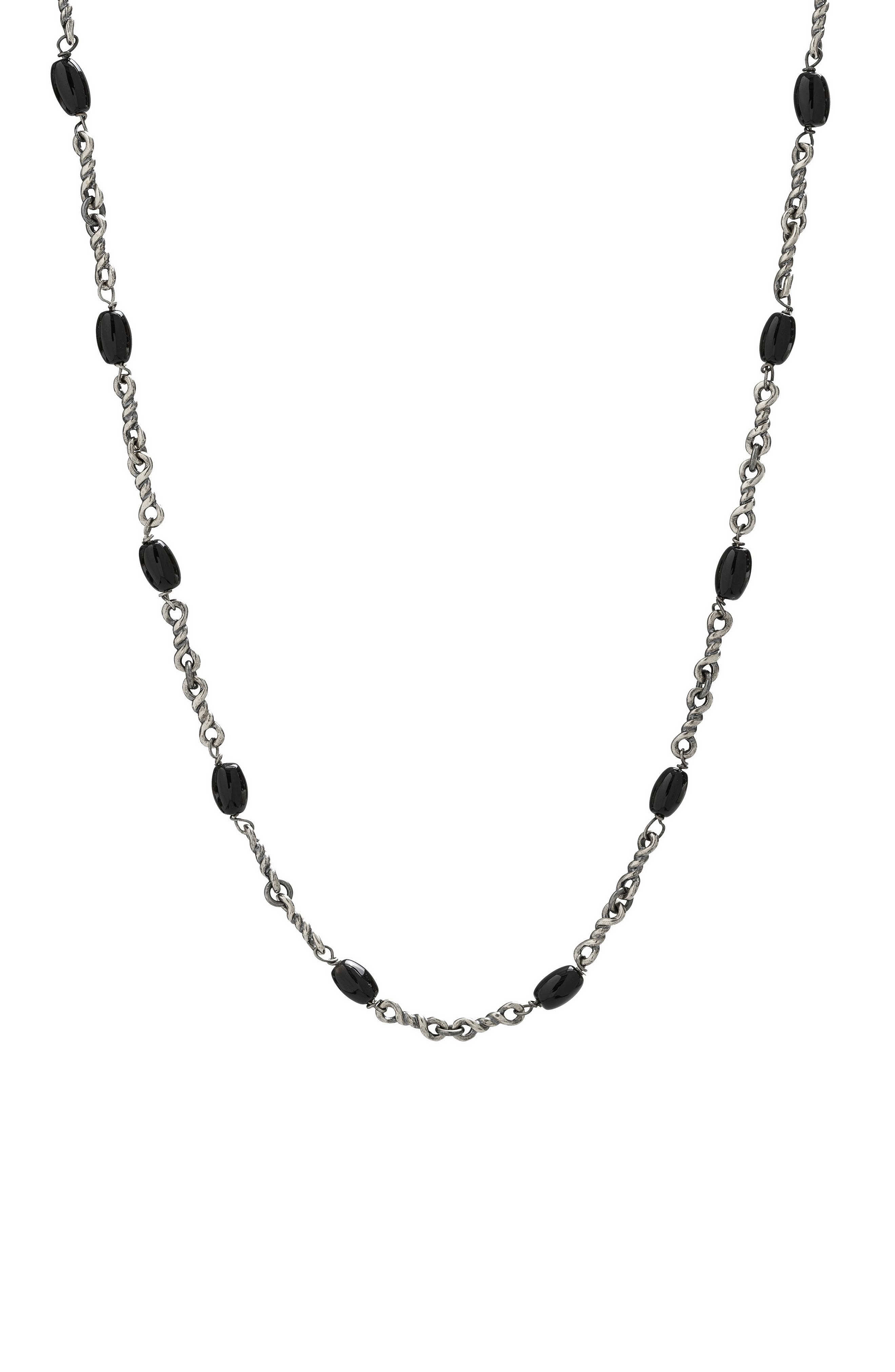 Men's Black Onyx Twisted Cable Chain Necklace