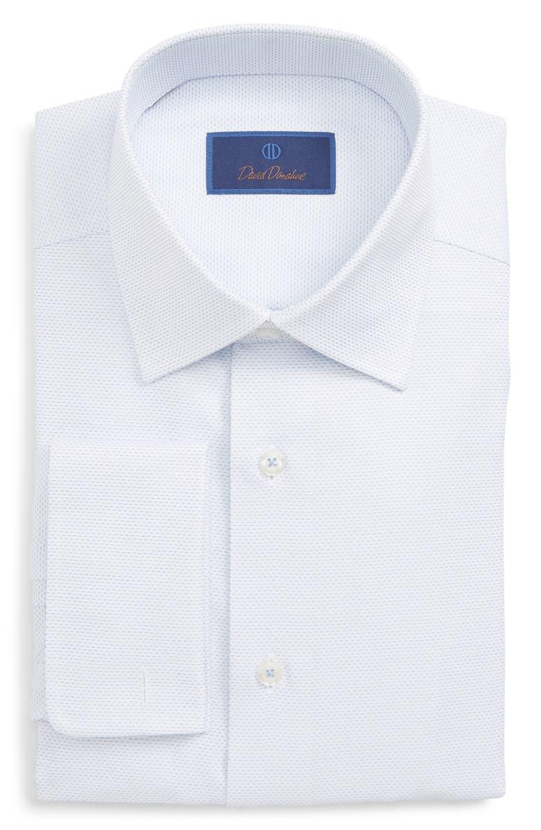 DAVID DONAHUE Regular Fit Print Dress Shirt, Main, color, WHITE/ BLUE