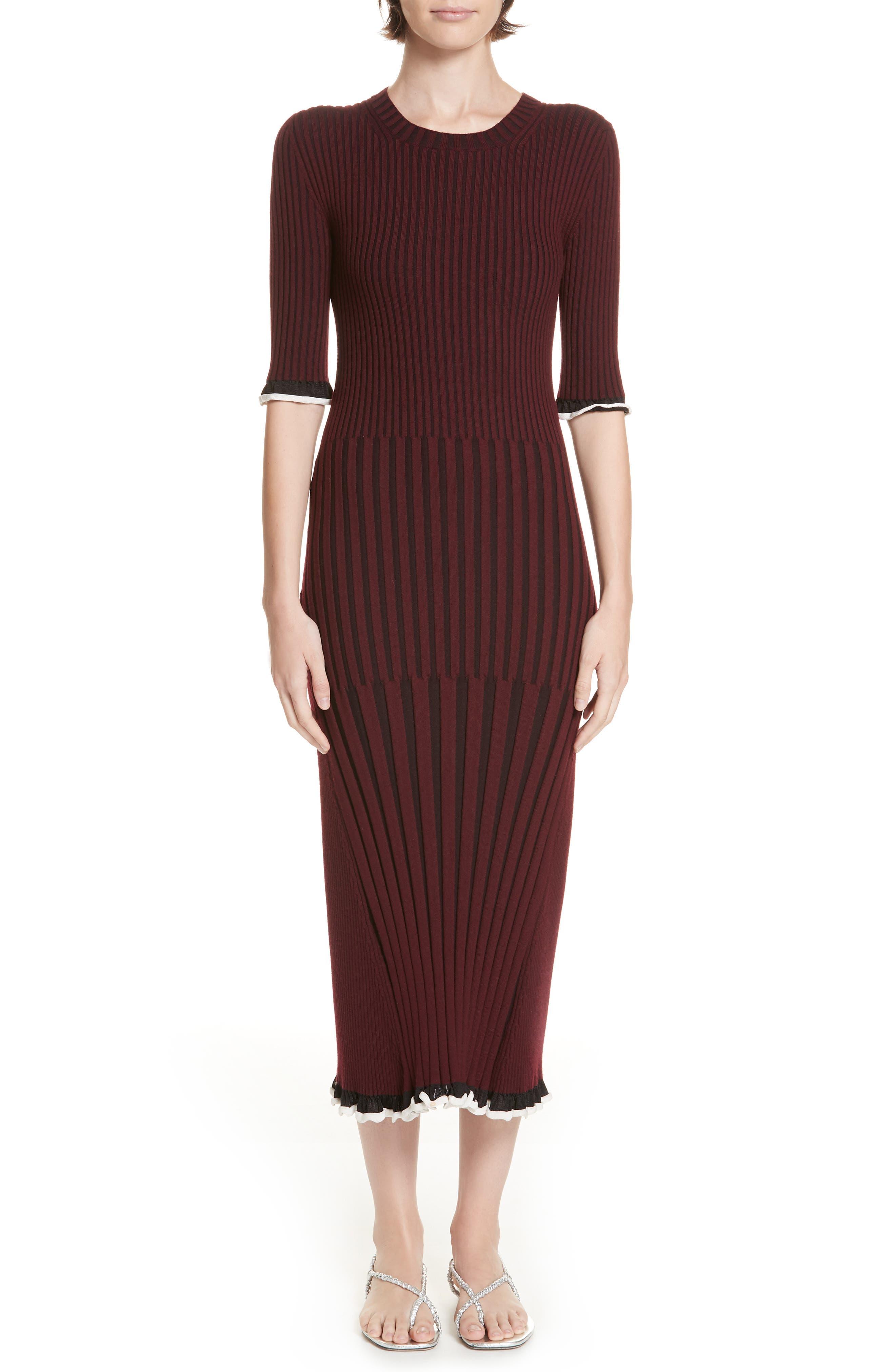 Rosetta Getty Mixed Rib Body-Con Dress