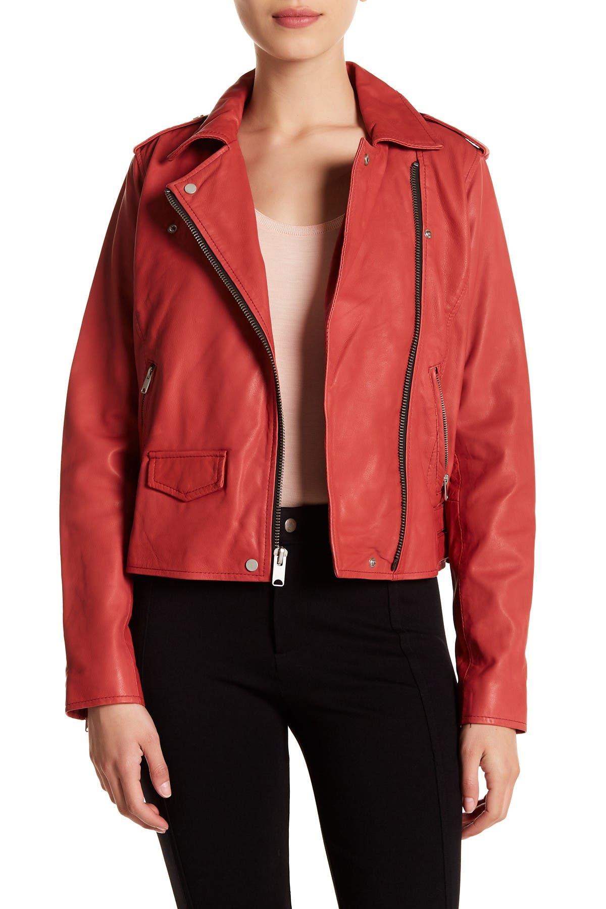 Image of Andrew Marc Whitney Leather Moto Jacket