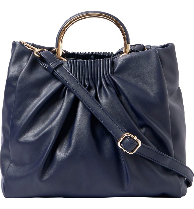 URBAN ORIGINALS Almost Min Vegan Leather Tote, Main, color, NAVY