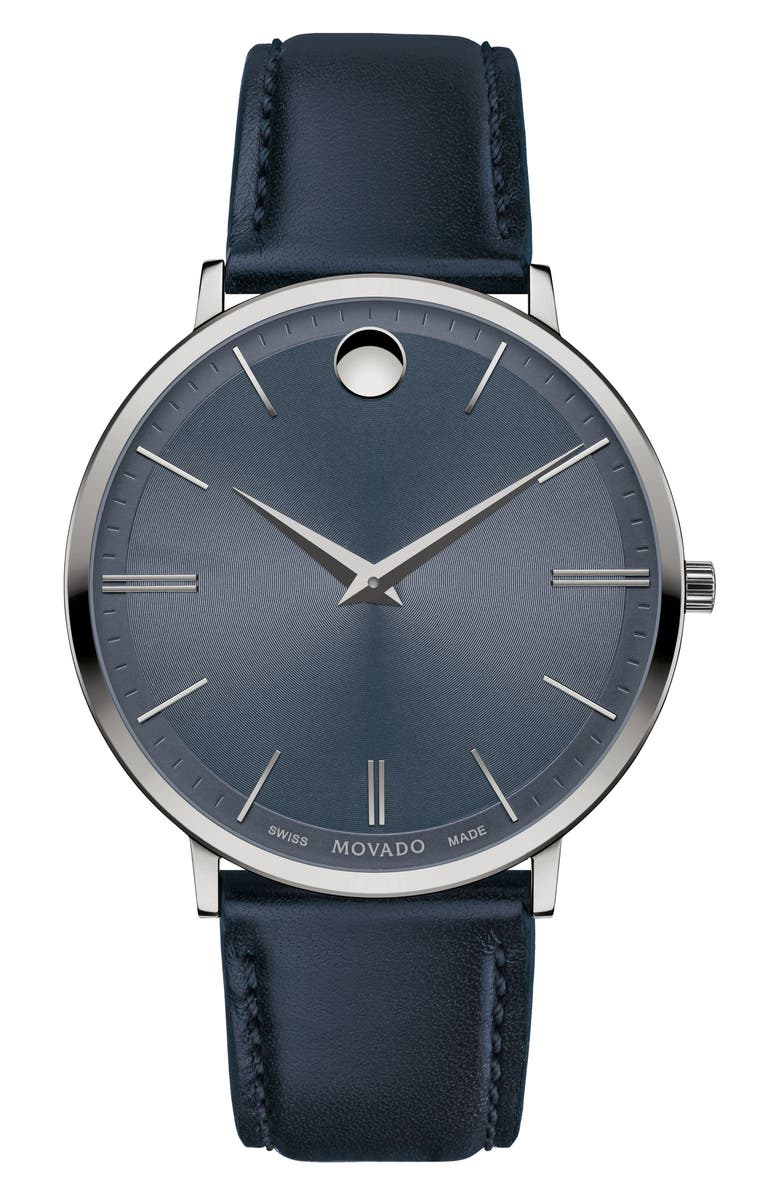 MOVADO 'Ultra Slim' Leather Strap Watch, 40mm, Main, color, NAVY/ GUNMETAL