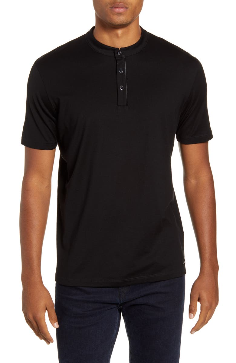 HUGO Daspen North Cotton Henley T-Shirt, Main, color, BLACK