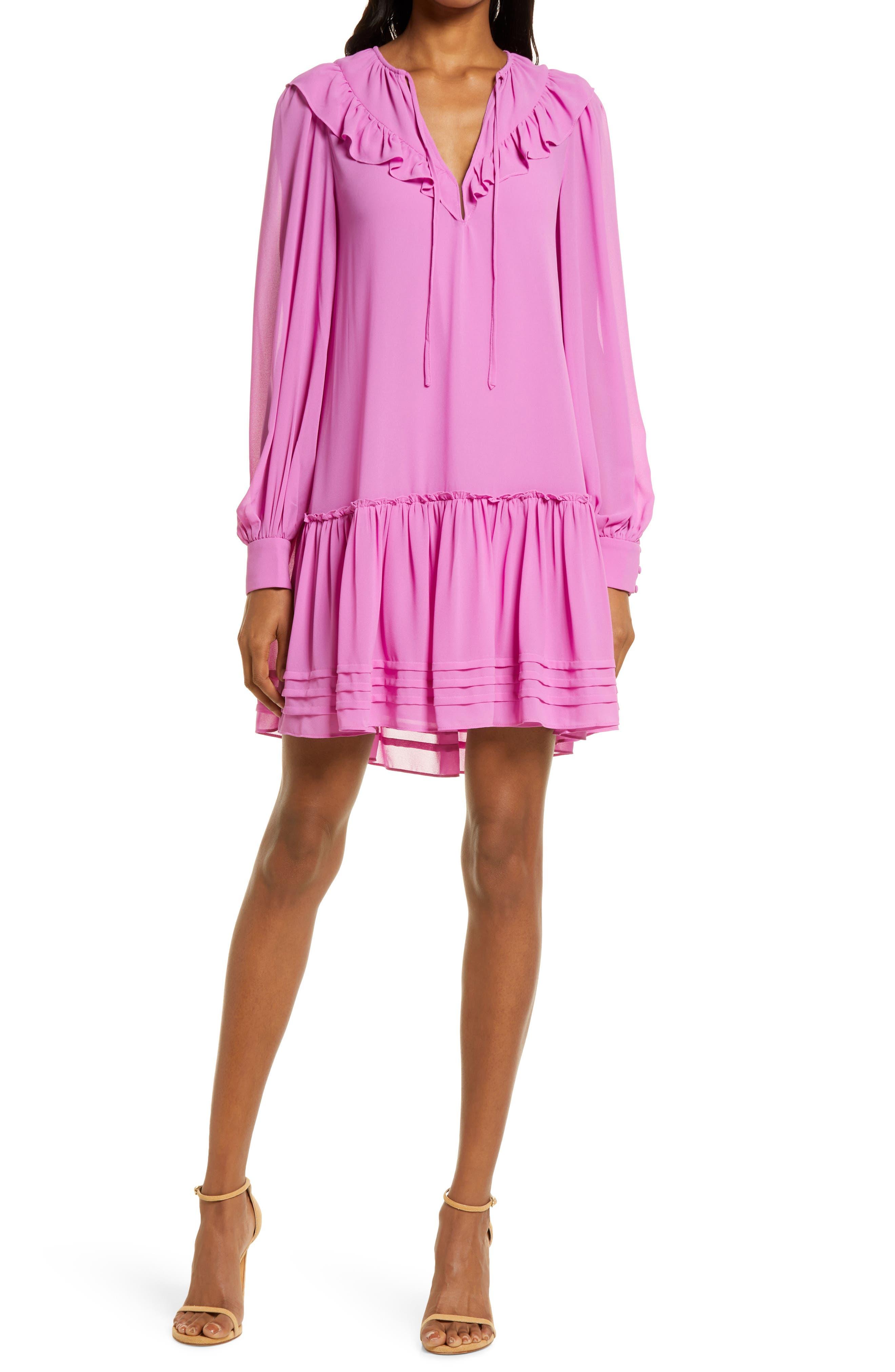 Smock Ruffle Long Sleeve Dress