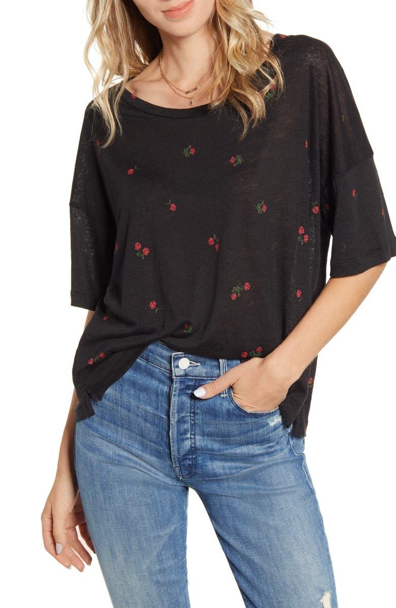 RAILS Roman Relaxed Fit Linen Blend Top, Main, color, BLACK ROSES
