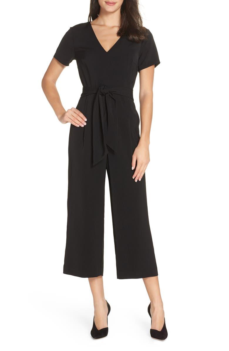 CHARLES HENRY Belted Crop Jumpsuit, Main, color, 001