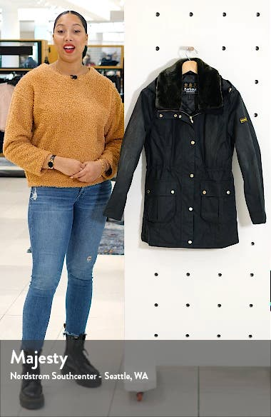 Barbour B.INTL Kirk Hooded Waxed Cotton Jacket with Faux Fur Trim, sales video thumbnail