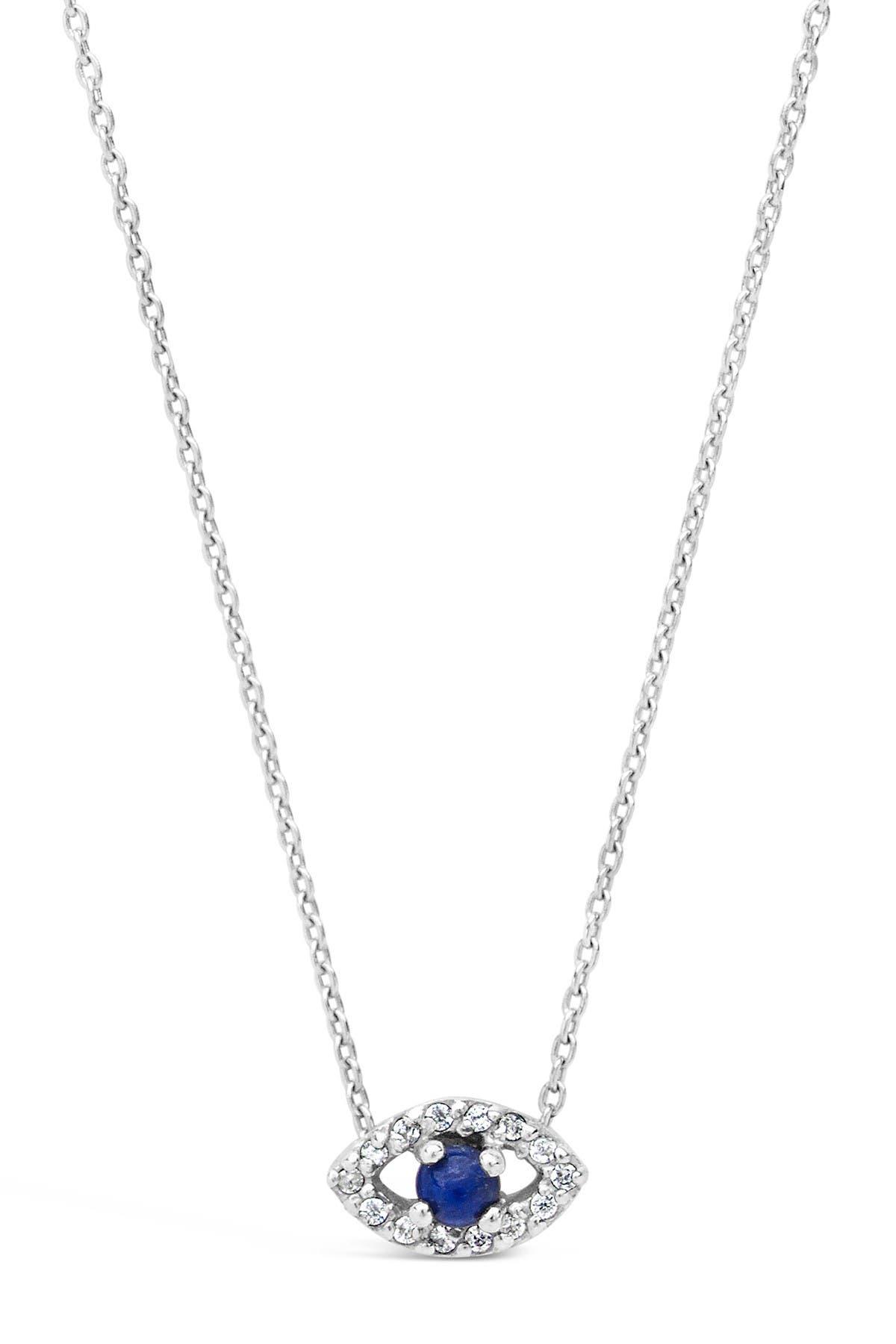 SilverLuxe Womens Sterling Silver CZ Evil Eye Disc Pendant Necklace 15 2