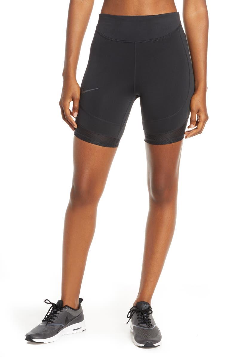 NIKE Tight Running Shorts, Main, color, BLACK/ THUNDER GREY
